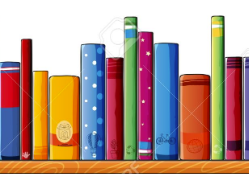 Drawn image of shelf of books